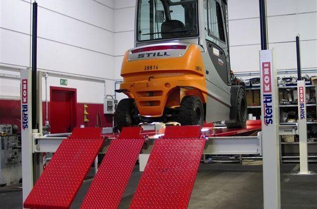 Forklift Lifting with Stertil-Koni Heavy Duty Platform Lifts