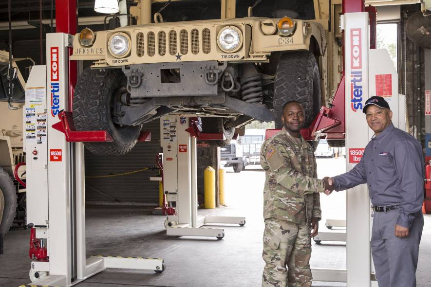 Stertil-Koni Military, global market leader, heavy duty, truck lifts, bus lifts, truck and bus industries, military, Fort Bragg, mobile column lifts, inground lifts